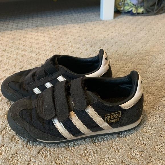 Adidas dragon boys shoes black white sz 11 kids